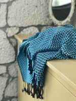 Handloomed hammam-towel Diamond Black-Turquoise