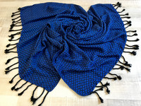 Handloomed hammam-towel Diamond Black-Nightblue