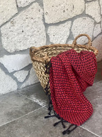 Handloomed hammam-towel Diamon Black-Red