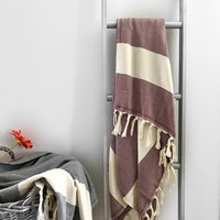 Chevron Hammam-towel Wine Red
