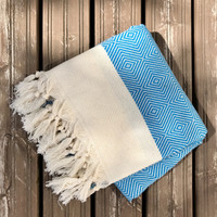 Herringbone Diamond Handloomed Hammam Towel Turquoise
