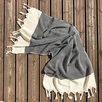 Hand Hammam-towel Herringbone Diamond Hand-loomed Black