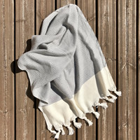 Hand Hammam-towel Herringbone Diamond Hand-loomed Grey