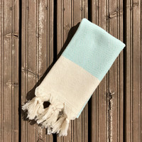 Hand Hammam-towel Herringbone Diamond Hand-loomed Mint