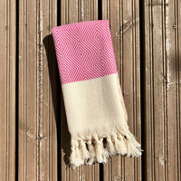 Hand Hammam-towel Herringbone Diamond Hand-loomed Pink