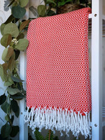 CRYSTAL Hand-loomed Hammam Towel Hot Red