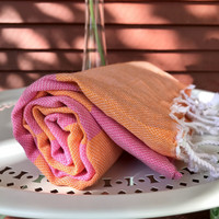 Sunset Hamam Handduk Orange-Rosa