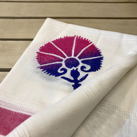Bamboo Hammam Towel Natural White with Wooden Print Cherry