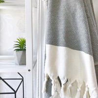Diamond Hand-loomed Hammam Towel Grey