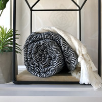 Diamond Hand-loomed Hammam Towel Black