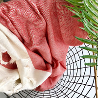 Diamond Hand-loomed Hammam Towel Red