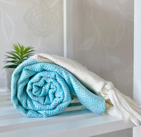 Diamond Hand-loomed Hammam Towel Turquoise