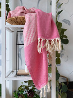 Diamond Stripe Hammam Towel Candy Pink