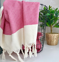 Diamond Hand-loomed Hammam Towel Candy Pink