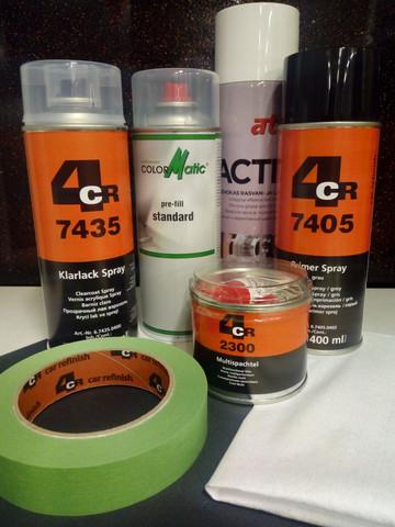 Merkkikohtainen spraymaali värikoodilla + koko setti!