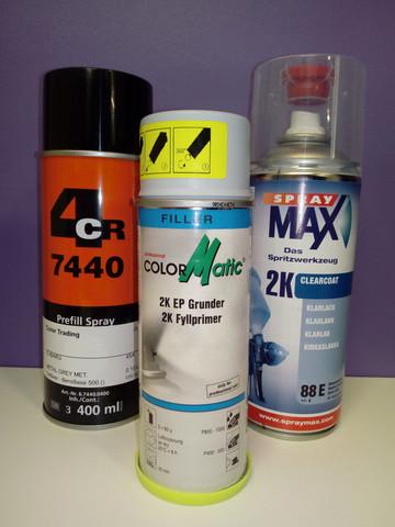 2-Komponentti spray paketti! Omatäyttö spray, pohjamaali ja lakka