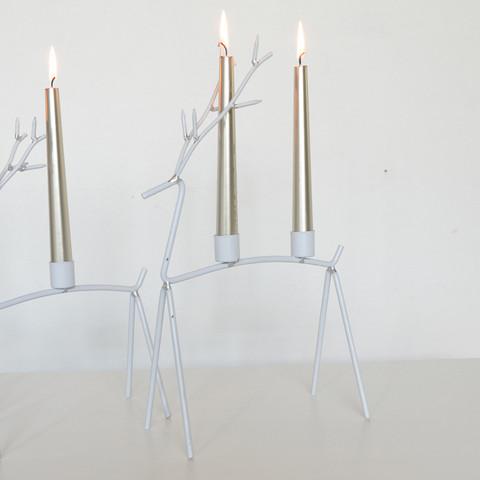Kynttilänjalka, Metalliporo - valkoinen (37 cm)