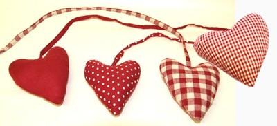 Kangas sydän nauhalla - punainen