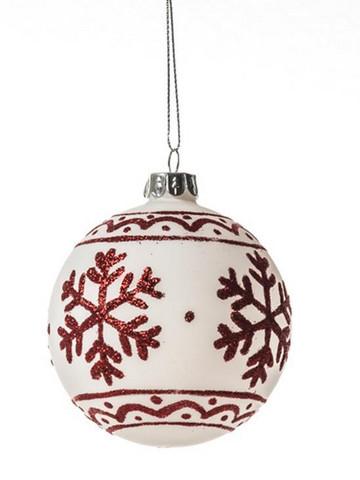 Joulupallo, valko-punainen - 8cm