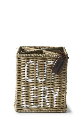 Rustic Rattan Cutlery Organiser - Riviera Maison