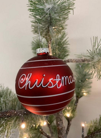 Joulupallo - Punainen tekstillä