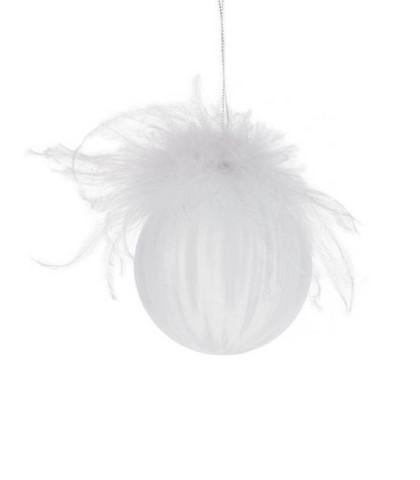 Joulupallo - Höyhen koriste, valkoinen