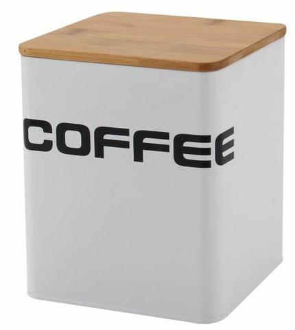 Kahvipurkki -Valkoinen, puukansi