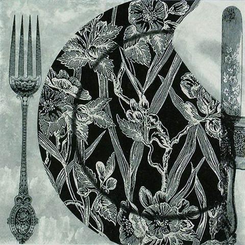 Servetti - Lounas,  Black Dinner Setting