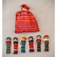 Guatemalaiset Huolinuket pussissa (Isot), 6 kpl - Worry Dolls