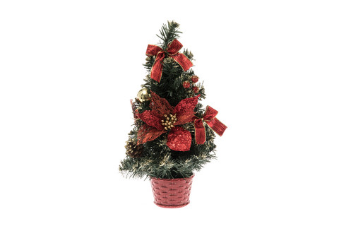 Joulukuusi koristeilla, punainen - 40 cm