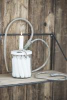 Kynttilänjalka - säilytysastia, valkoinen