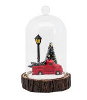 Joulukoriste - Punainen auto ja lasikupu