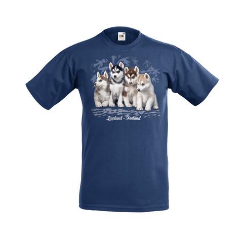 Huskynpennut lasten t-paita, sininen