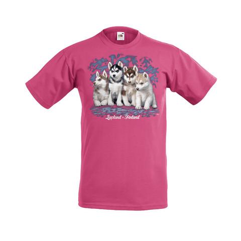 Huskynpennut lasten t-paita, pinkki