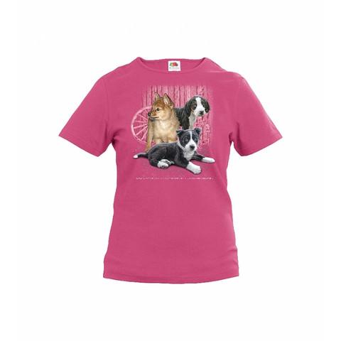 Koiranpennut lasten t-paita, pinkki