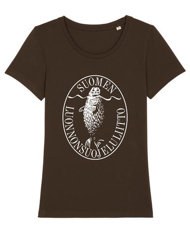 Naisten retrologo t-paita (maanruskea)