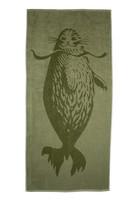 Retrologo kylpypyyhe (oliivinvihreä)