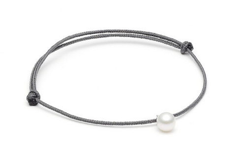 Louise Kragh Freshwater Pearl Bracelet (White/Dark Grey)