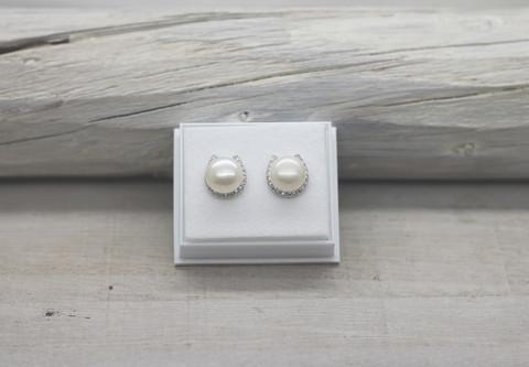 Sterling silver earrings freshwater pearl and zirkon