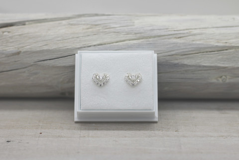 Sterling silver earrings heart zirkon