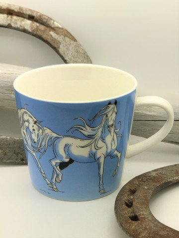 Horses -mug, light blue