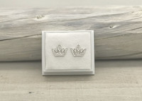 Sterling silver earrings crown zirkon