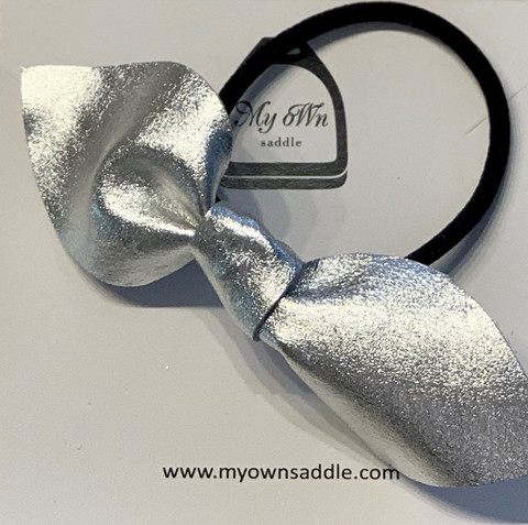 Arctic -leather hair bobble big, silver