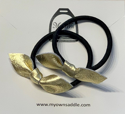 Arctic -leather hair bobble small, 2 pcs gold