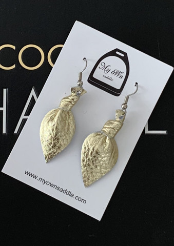 Arctic -leather earrings small, gold