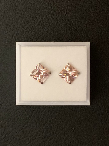 Sterling silver earrings, light pink zirkon (big)