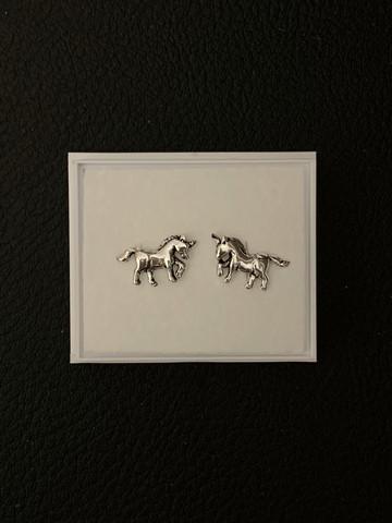 Hopeiset korvakorut, unicorn hevonen