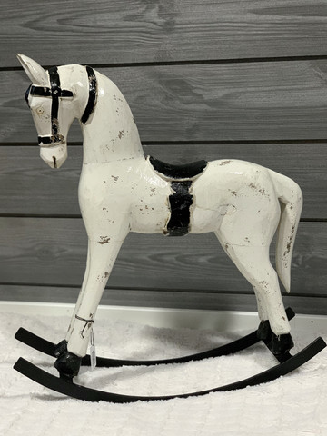 Rocking Horse, wood, white, big 44cm x 50 cm