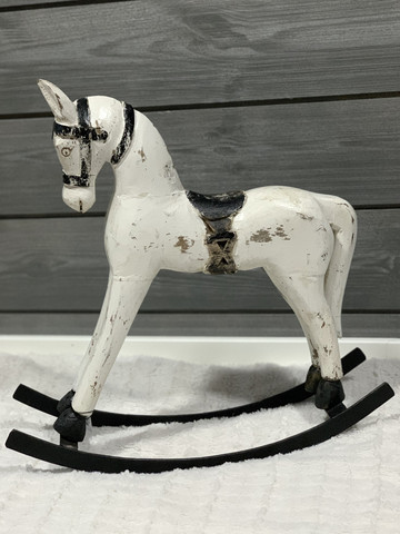 Rocking Horse, wood, white 39 cm x 40 cm