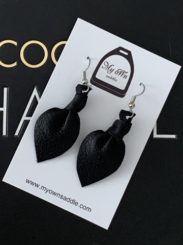 Arctic -leather earrings small, black